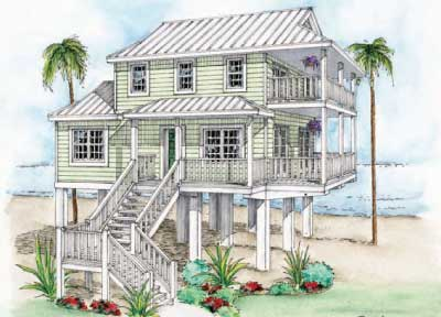 The crescent beach model sweetwater homes florida keys for Beach house floor plans on stilts