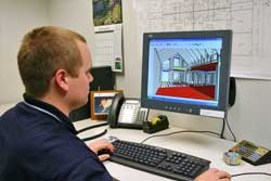 The building process begins by engineering the home on a 3D computer system.
